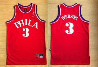 Allen Iverson 3 Red Throwback Jersey M Nike