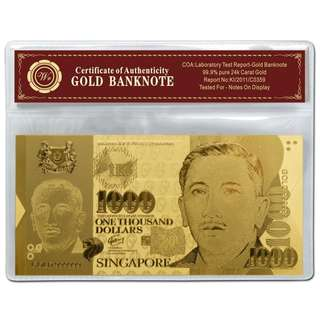 🚚 Singapore Dollar $1000 999 24K Fine Gold Foil Banknote With Plastic Sleeve For Gift Collection