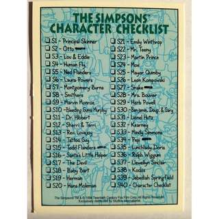 1994 Skybox Simpsons Series 2 - Base Card #S40 - Character Checklist