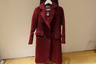 Maroon Red Wool Winter Trench Coat