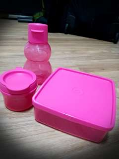 TUPPERWARE TWINKLE BOTTLE & SNACK SET *PINK*