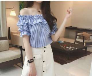 blue and white striped off shoulder top
