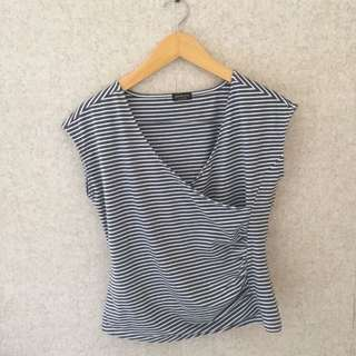 NEW Stradivarius Grey Stripe Top