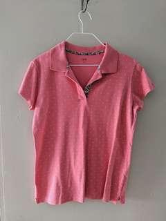 Uniqlo pink polka dot polo shirt