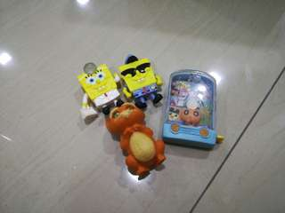Macdonald's combo toy collections spongebob squarepants,puss in boots FREE 2 RANDOM TOY CARS!