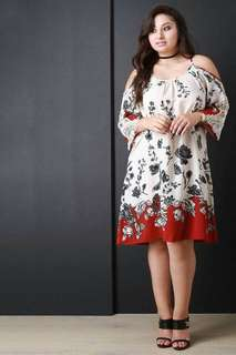 💋Cold Shoulder Embroidered Lace Sleeve Plus Size Dress