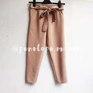 Sash Cropped Work Pants (Nude) + Free Shipping*