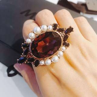 Mimco jeweled 2-finger ring