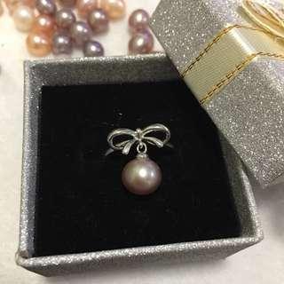 天然淡水珠珠s925純銀蝴蝶結戒指