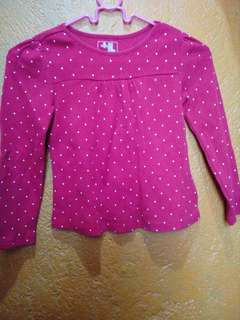 RED DOTTED LONGSLEEVE TOP FOR KIDS/GIRLS