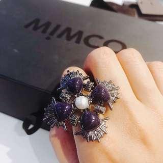 Mimco jeweled gunmetal tone ring