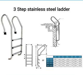 Swimming pool stainless steel 3step ladder