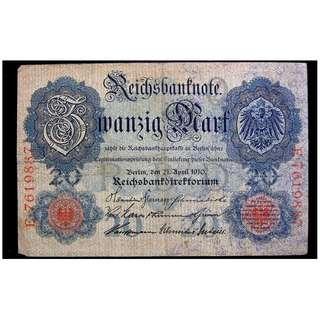 1910年意志帝國銀行皇家大鷹國徽20金馬克(Gold Mark)銀票(德皇威廉二世時期, 金本位幣)