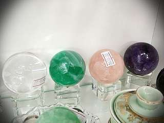 Crystal balls . Natural stones
