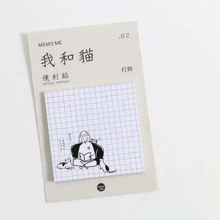[SN] Cat Illustration Sticky Notes: Reading