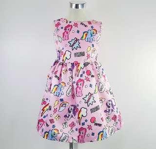 Silk Roundneck Cartoon Girl Dress