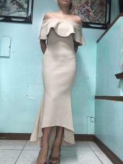Beige Dress gown evening frills mermaid long tube offshoulder