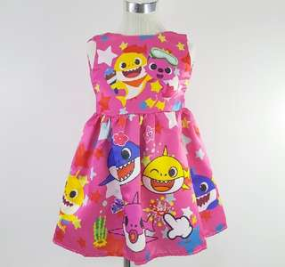 Silk Roundneck Cartoon Girl Dress