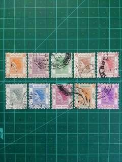 1954 伊莉莎白二世第一組通用票 舊票10枚