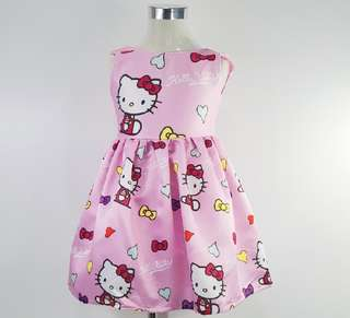 Silk Roundneck Cartoon Girl Hello Kitty Dress