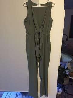Khaki Wrap Jumpsuit