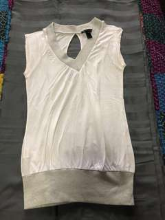 White and silver t-shirt top