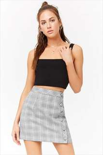 Forever 21 Check Button Front Skirt - Size M 10 BNWOT!