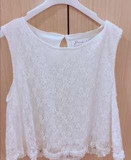 Pazzo 全白蕾絲無袖造型上衣