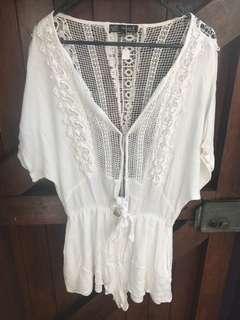 White play suit romper jumpsuit lace