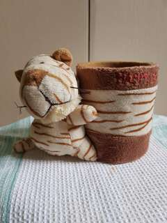 Plushie tiger with supplies holder