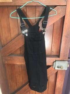 Black dungaree dress