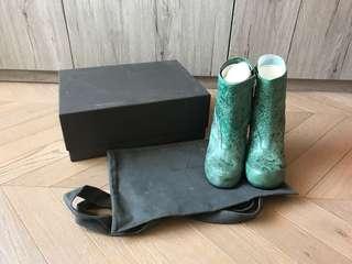 全新 Rick Owens crinkle washed leather ankle high heel shoes 洗水烈紋高踭鞋