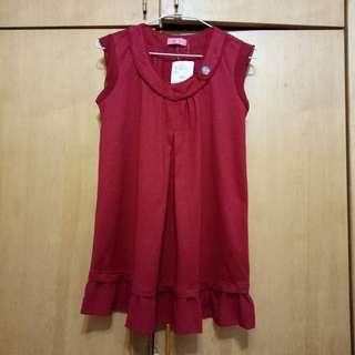 F. F. F. F專櫃典雅紅袖及下擺雪紡荷葉邊可單穿背心