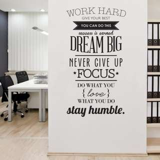 Motivation Wall Home Bedroom Office Decor Decal DIY Wallpaper