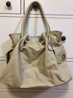 Oroton Ornament Gather Handbag Tote / off white/ pearl ivory