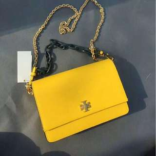 Tory Burch Leather Kira Yellow Sling Bag V1
