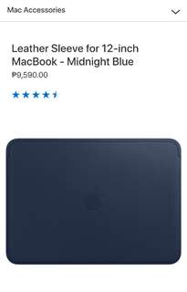 Leather Sleeve for 12‑inch MacBook - Midnight Blue