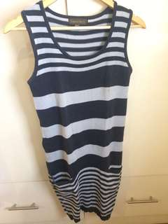 Knitted Striped Dress (Blue)