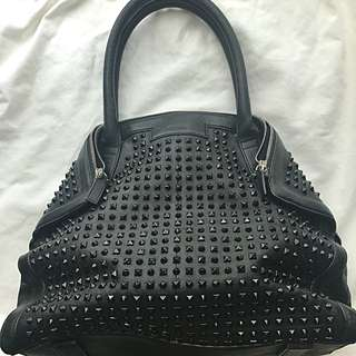 Alexander McQueen black leather demanta tote handbag