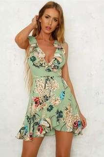 Floral Asymmetrical V Neck Skater Dress