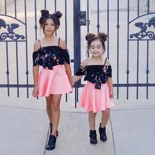 Summer Floral Off Shoulders Top with Pink Skater Skirt