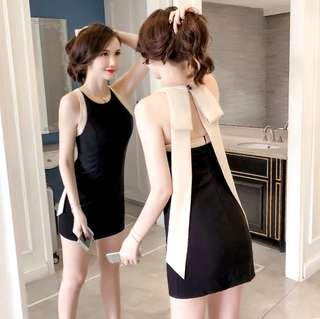S-XL Sexy Sleeveless Slim Cut Dress with Pleated Ribbon at the Back