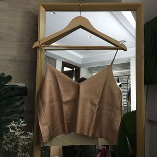 Zara Metallic Rose Gold Top