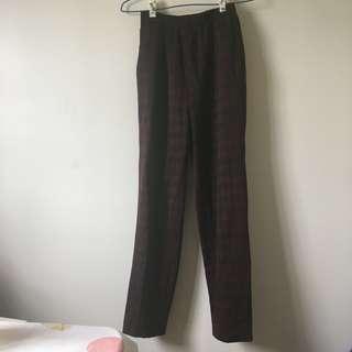 🚚 [古著/vintage] 暗紅格紋鬆緊長褲