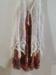 Crochet Vest and Aztec Dress