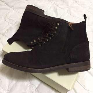 Massimo Dutti dark brown leather boots
