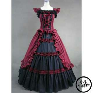 victorian lolita dress Ladies evening party bandage gothic dress Halloween cosplay lolita costume (Dress Only)