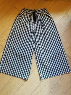 日本黑白格仔闊腳褲  麻棉