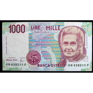 1990年意大利銀行名女教育家蒙迪蘇莉1000里拉鈔票