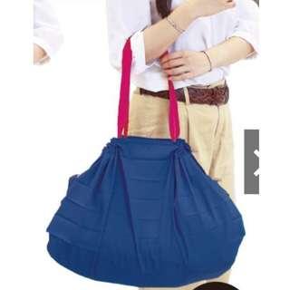 🚚 [全新] 日本熱賣* Shupatto 快速收納輕便大容量購物袋 L號大款-素深藍